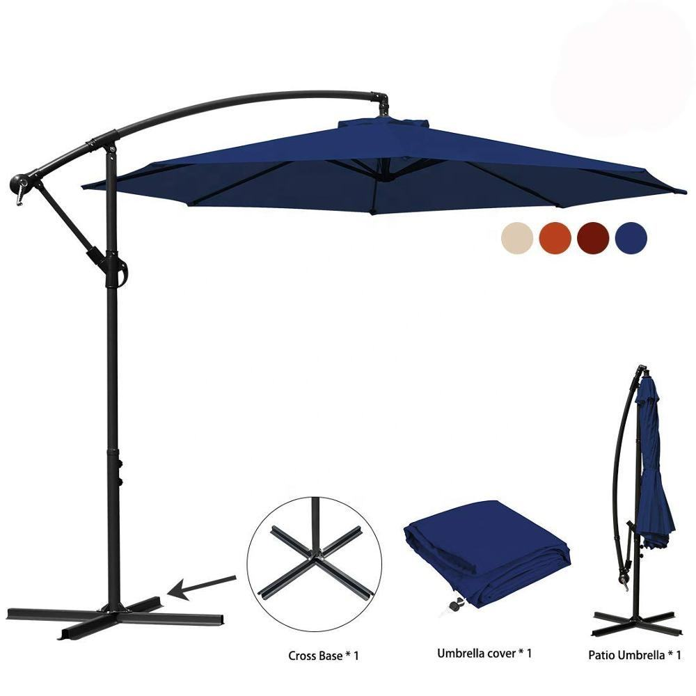 12 FT 3M 8 Ribs Luxury Foldable outdoor yard patio cantilever parasol garden umbrella