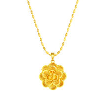 N193243 xuping 2019 trendy saudi gold jewellery necklace, 24k gold emas flower shaped matte elegant necklace jewelry women