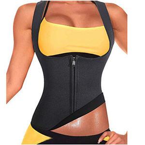 Factory supply Women Neoprene Sauna Sweat Waist Trainer Vest with Zipper for Weight Loss Gym Workout Body Shaper Tank Top Shirt