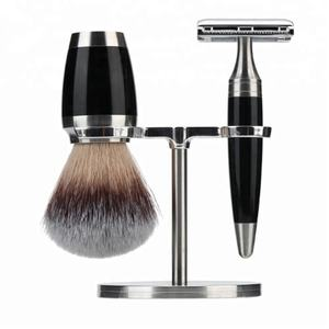 JDK New Patent 3 Piece Shave Set In Silver For Men Badger Hair Shaving Brush and Razor Stand Shaving Set