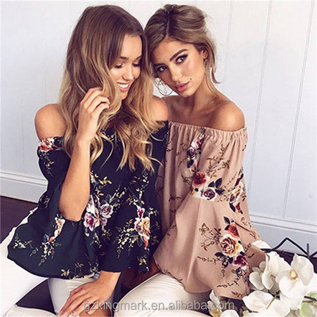 Cheap Casual Off shoulder women summer blouse /lady blouse & top