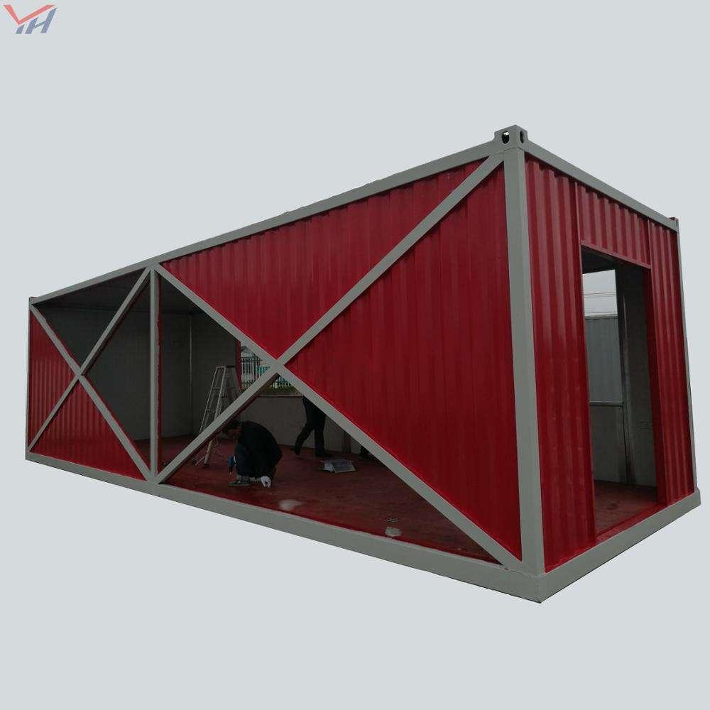 Красный выдалбливают белый край Гладкий элегантный контейнерный дом