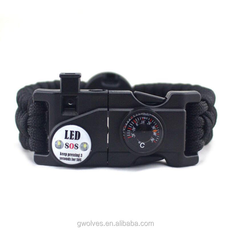 Outdoor SOS Emergency survival kit type paracord bracelet with compass thermometer