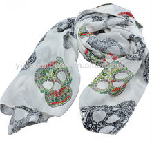 Hot Lady Skull Pattern Printed 100% Polyester Scarf