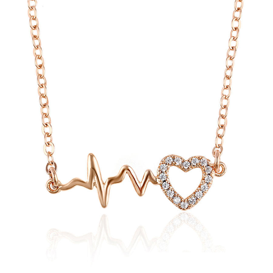 44525 Xuping fashion jewelry necklaces, newest design custom necklace, women rose gold jewelry heart gold plated necklace