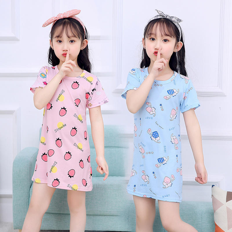 100% cotton kids sleeping dress one piece girls pajamas wholesale korea style girls boutique pajamas dress with high quality