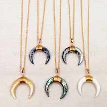 WT-N749 Big Amazing natural crescent shell necklace handmade wire wrapped gold half moon crescent shell necklace