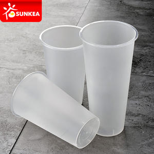 Disposable cold tea PP plastic frosted cup with PP lid