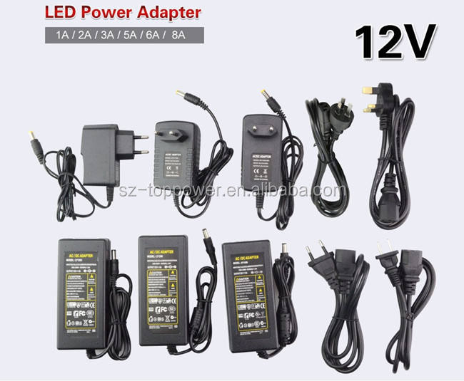 DC LED Power Supply Charger Transformer Adapter 1A-8A 110V 220V to 12V For RGB LED Strip 5050 3528