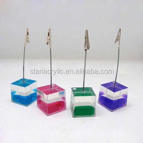 3 Clips Cube Base Fil Memo Holder Paper Note Clip-Argent Gris Q8A7