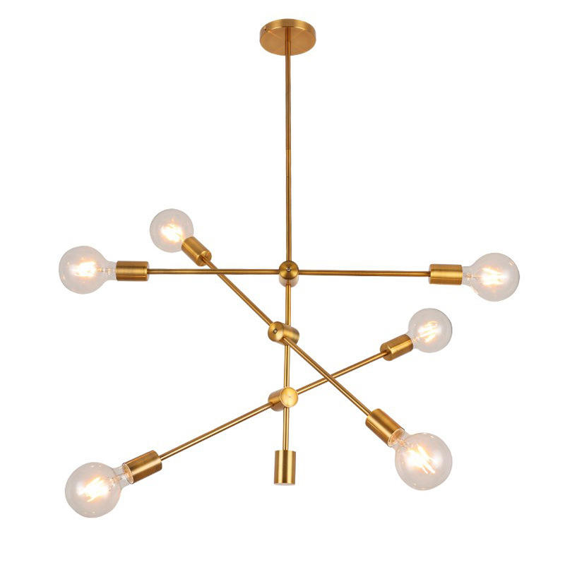 Nordic LED Minimalist Iron Art Post-modern Geometric gold Linear Chandelier lamp pendent lights for living room dining room