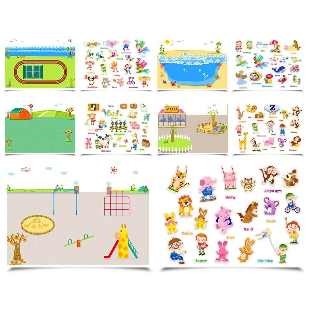 Personality custom kids educational toy coloring reusable removable sticker book with different scenes