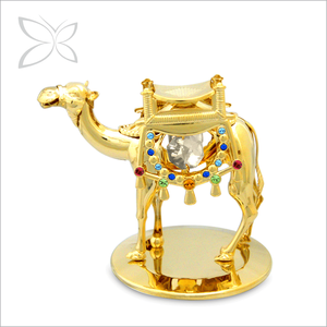 Crystocraft 24k Gold Plated Metal Crystal Camel Figurine with Crystals from Swarovski Dubai Middle East Souvenir