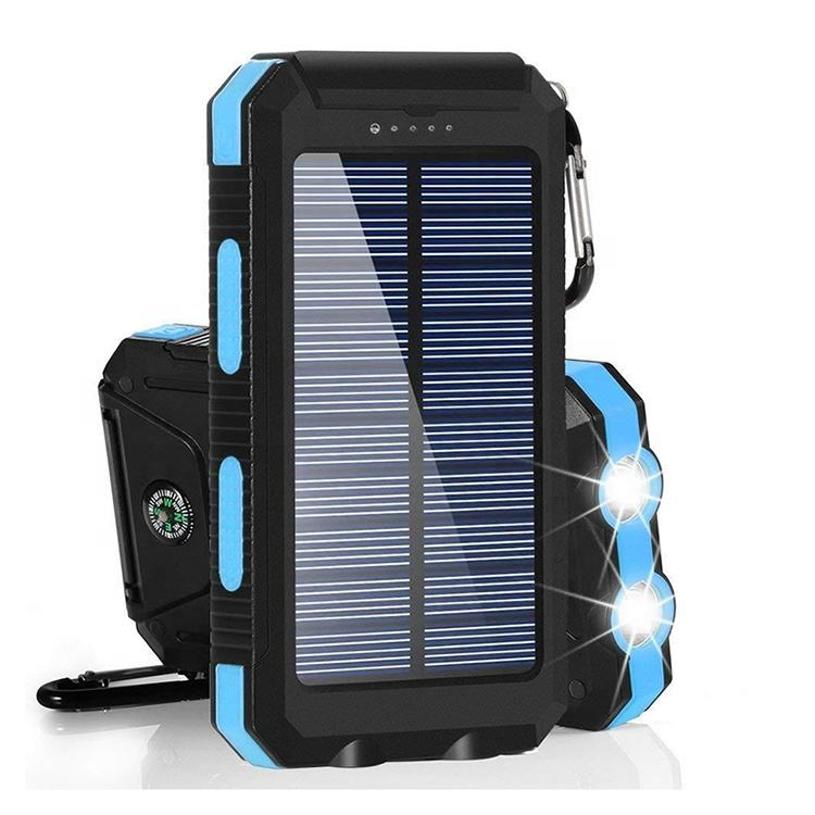 Portable Solar Power Bank Waterproof Powerbank 20000mah Charger With Led Light