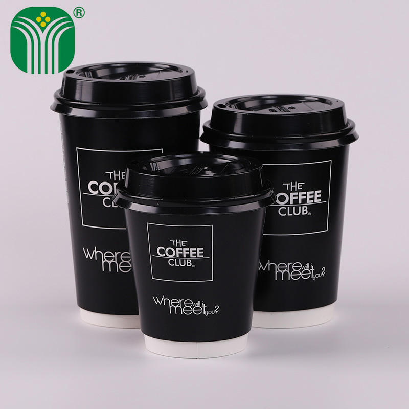 Taza de papel para bebidas calientes de café de doble pared desechable personalizada negra 450ml 16oz