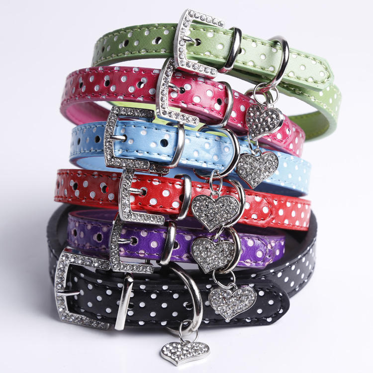 Pet accessories wholesale Fashion Rhinestones Buckle Leather Dots Pet Dog Collar