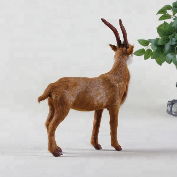 Realistically Detailed Simulated Animal Farm Toys Plastic Goat Figurine Mini Brown Standing Goat Fur Toy