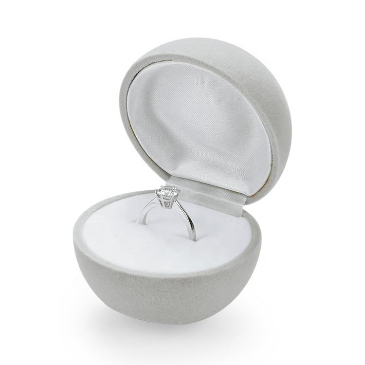 High Quality Simple Style Vintage Round Jewelry Suede Ring Box