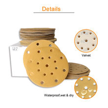 6inch 17 Holes  hook and loop self adhesive Golden abrasive paper automotive sandpaper for polishing and grinding