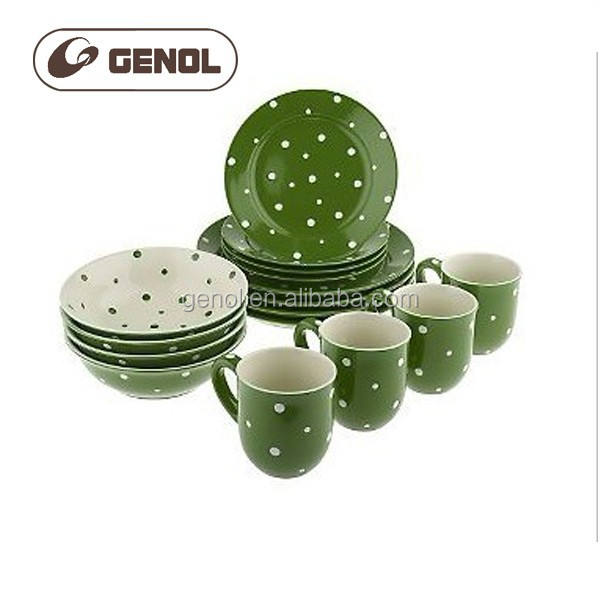 top selling green color ceramic bakeware sets with colorful dot