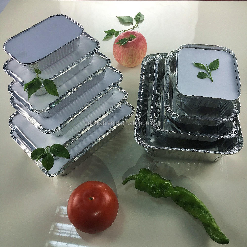 Food grade 100ml 250ml 500ml 750ml 1000ml to 3500m rectangular takeout aluminum foil food containers lunch box food trays