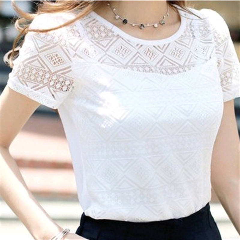 2019 New Women Clothing Chiffon Blouse Lace Crochet Female Korean Shirts Ladies Blusas Tops Shirt White Blouses slim fit Tops