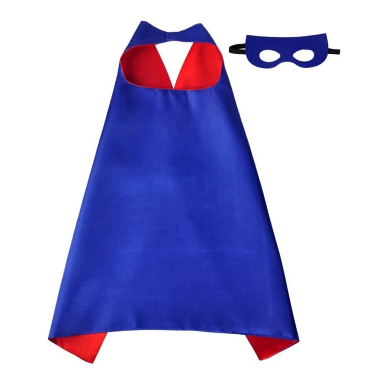 Wholesale 100D Polyester Blue Kids Superhero Cape and Mask with Your Logo
