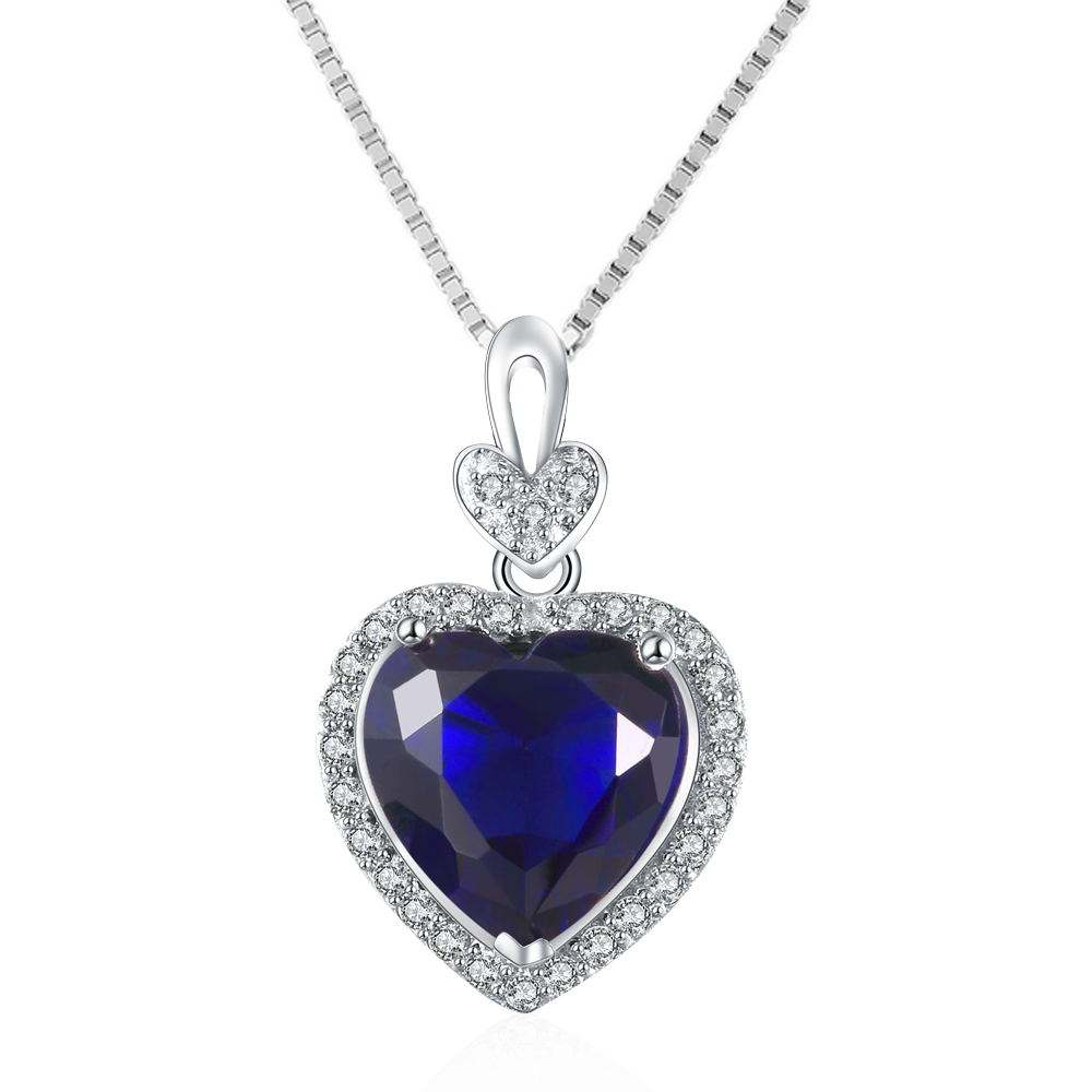 White Gold Plated Heart Pendant Silver Jewelry Diamond Necklace Wholesale