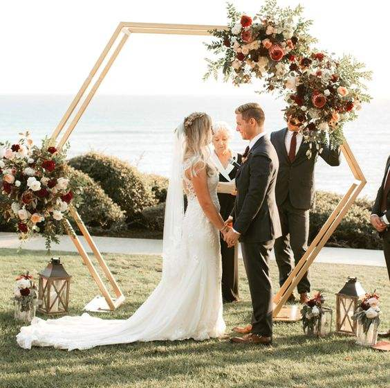 1 pcs Romantic Wedding New Design Hexagon Arch Wedding Backdrops For Wedding Decoration Stage Decoration