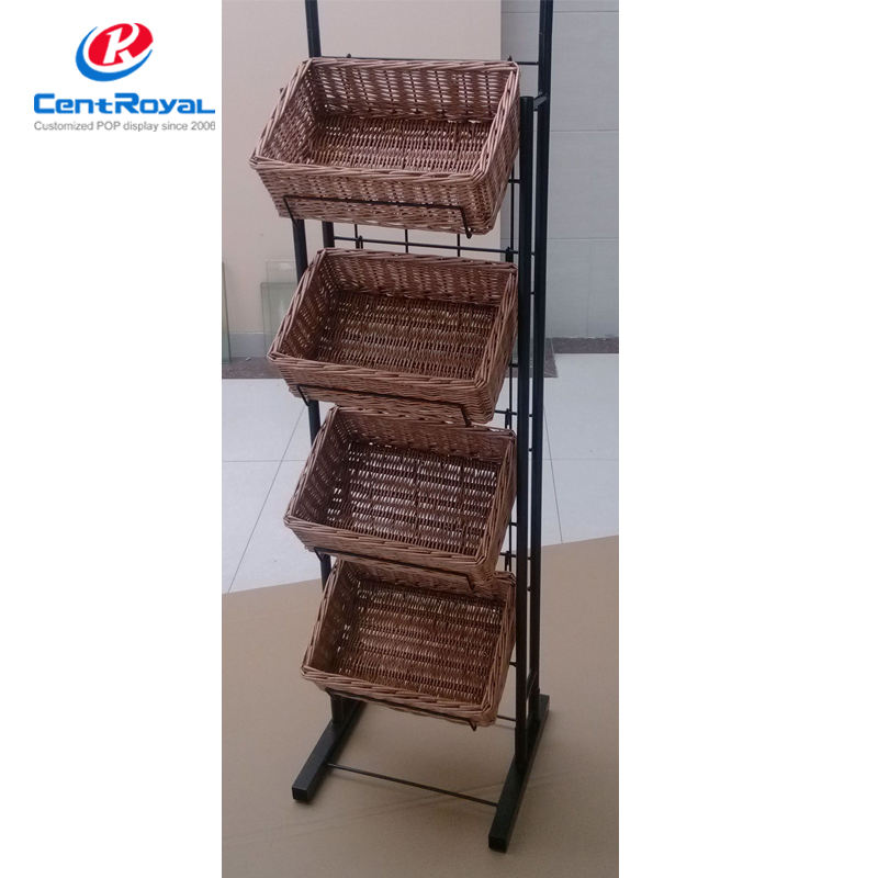 Alle natuurlijke mand display rack voor brood/voedsel & brood display rack