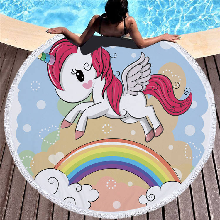 China Factory Price Hot quality Custom Design Hotel Microfiber Bath Hooded Hand Round Sport Yoga Beach Towel With Tassel Fringe