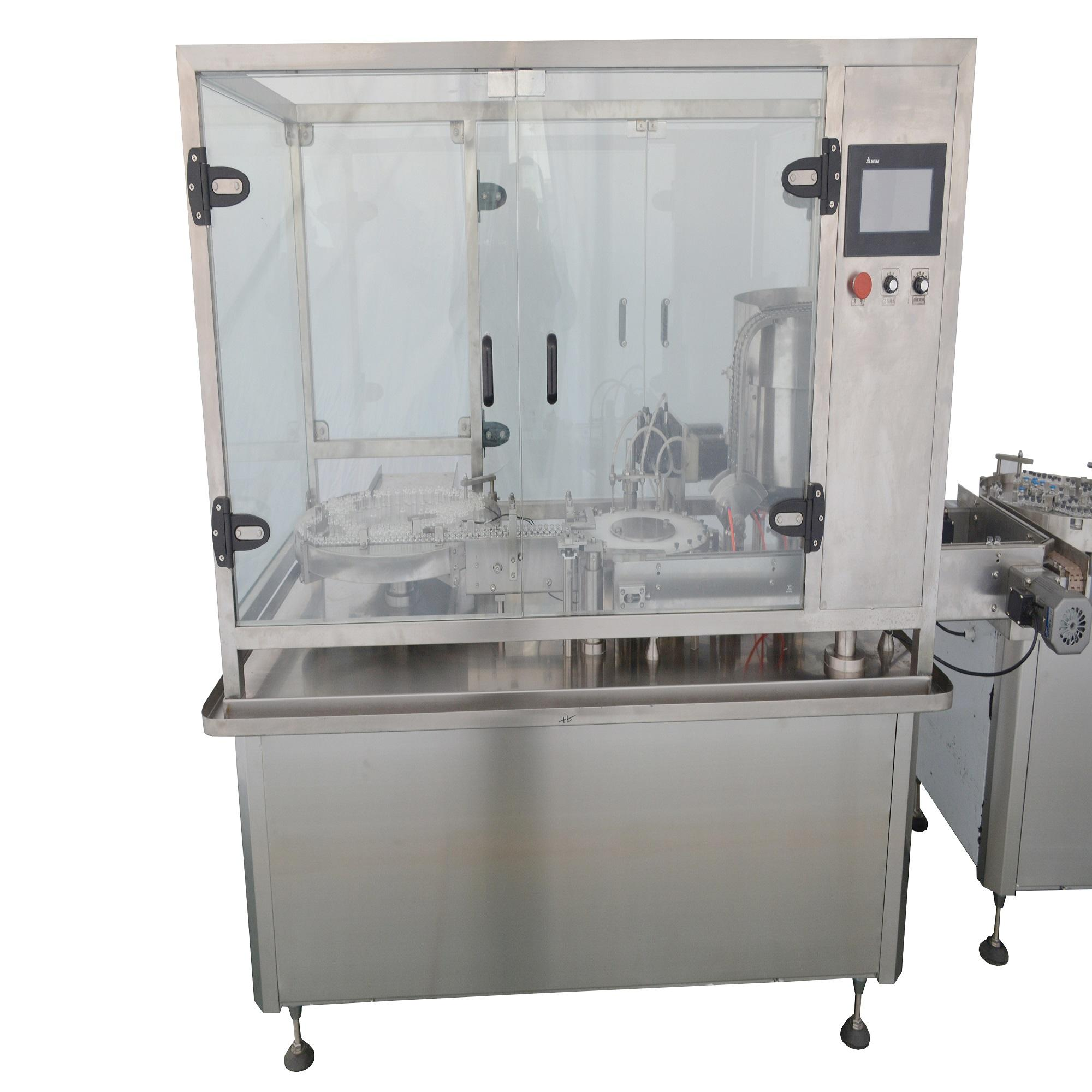Verified Gold Plus Supplier automatic vials liquid filling stoppering capping machine vials filling machine with dust cover