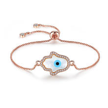 2019 New Arrival Adjustable Slide Lock Tennis Chain Crystal Rhinestone Micro Paved CZ Eyes Charm Bracelet