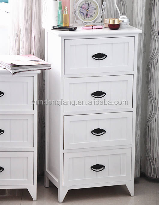 Country style white painted solid wooden storage cabinet with metal handle