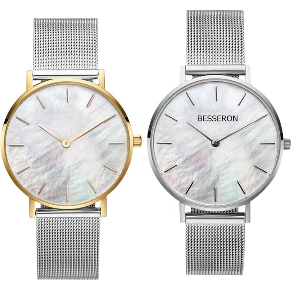 BESSERON MOQ 100 custom oem mesh high quality mother of pearl watches small fancy ladies woman wrist watch seashell black