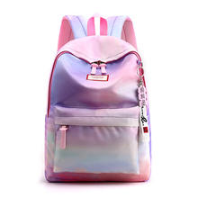 New ladies waterproof polyester simple tide gradual change mixed color students leisure backpack