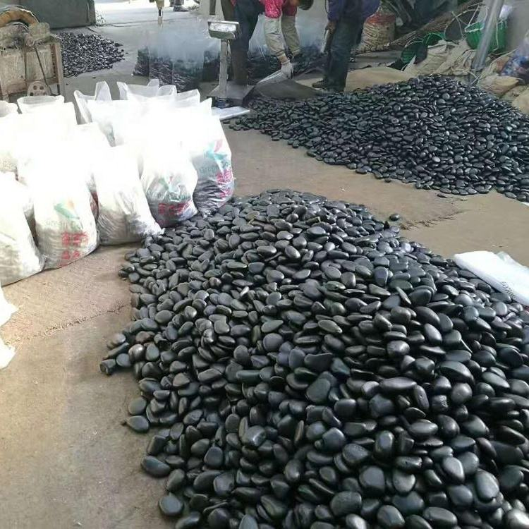 Polished Black Pebbles River Stone Gravels and Aggregate