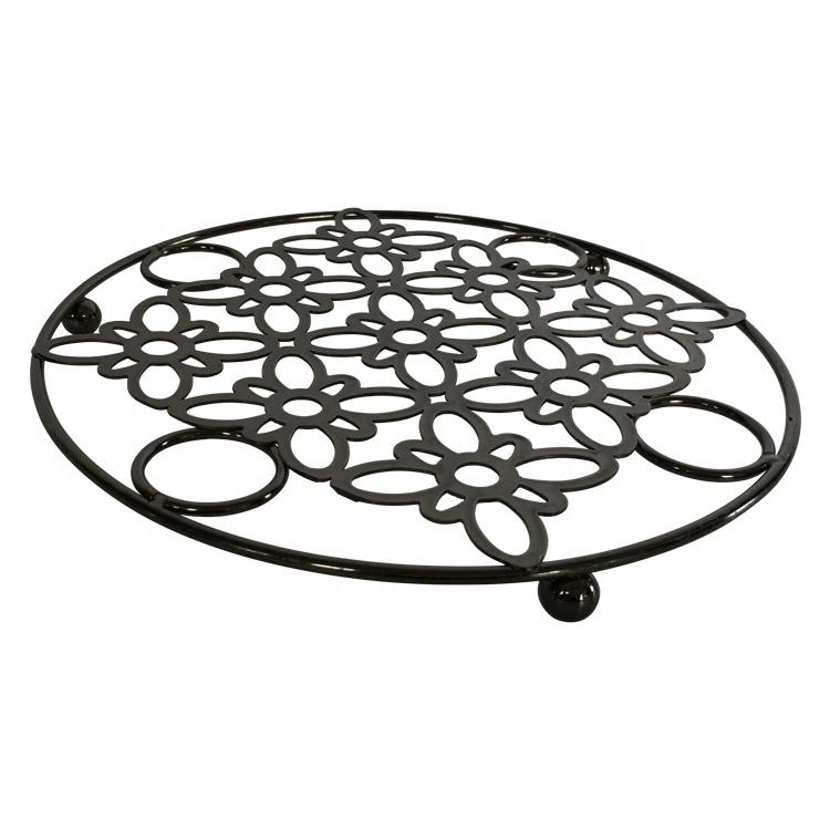 Round metal chrome kitchen table wrought iron hot pot mats & pads