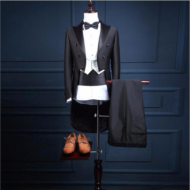 Custom Made Black Tail Long Coat Stage Costume Men Suit Wedding Terno Tuxedos WPY050