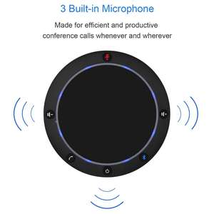 NA100B Omnidirectional Conference Speakerphone USB   Wireless Connection Desktop microphone with 3 speakers