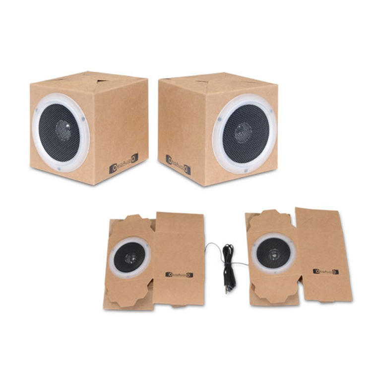 BSICI Audit ISO9001 Audit Factory OEM ODM Portable DIY Mini Cardboard Foldable Wired Speaker Box for Kids for Promotions