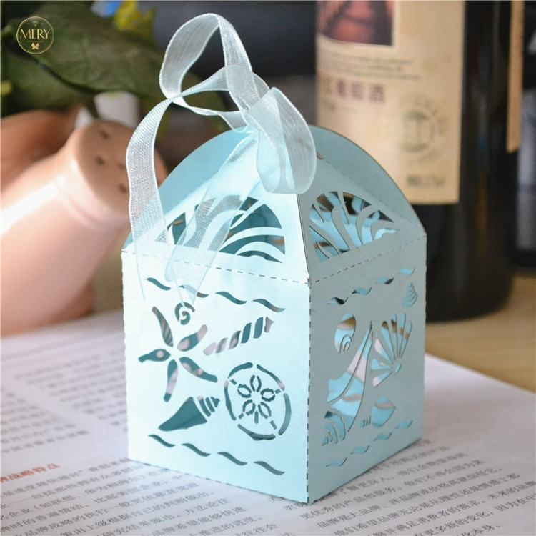Sea theme laser cut baby shower party wedding favor boxes