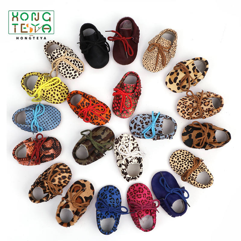 New style genuine leather Horse hair Leopard Print pattern first walkers baby shoes