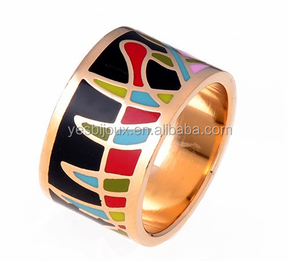 mens wide band gold titanium cloisonne ring 1.6cm wide finger ring