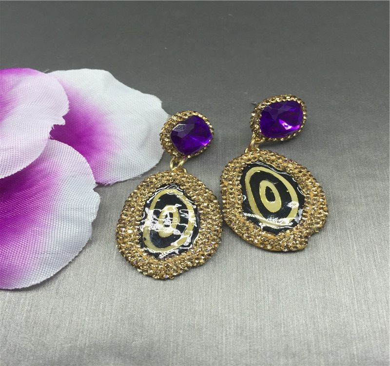 China manufacturer custom high quality female paved rhinestone resin earrings