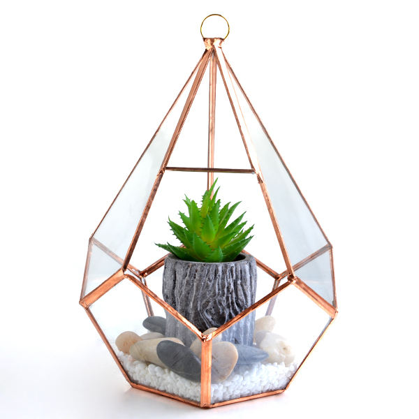 wholesale pyramid-shaped geometric gold flower glass vase