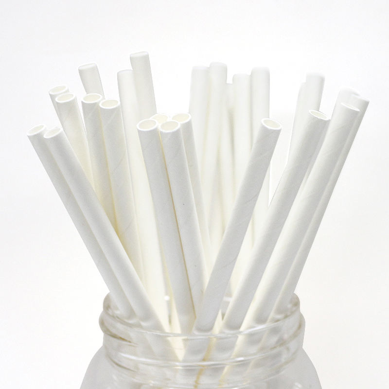 Food Grade Natural White Solid Color Drinking Paper Straw