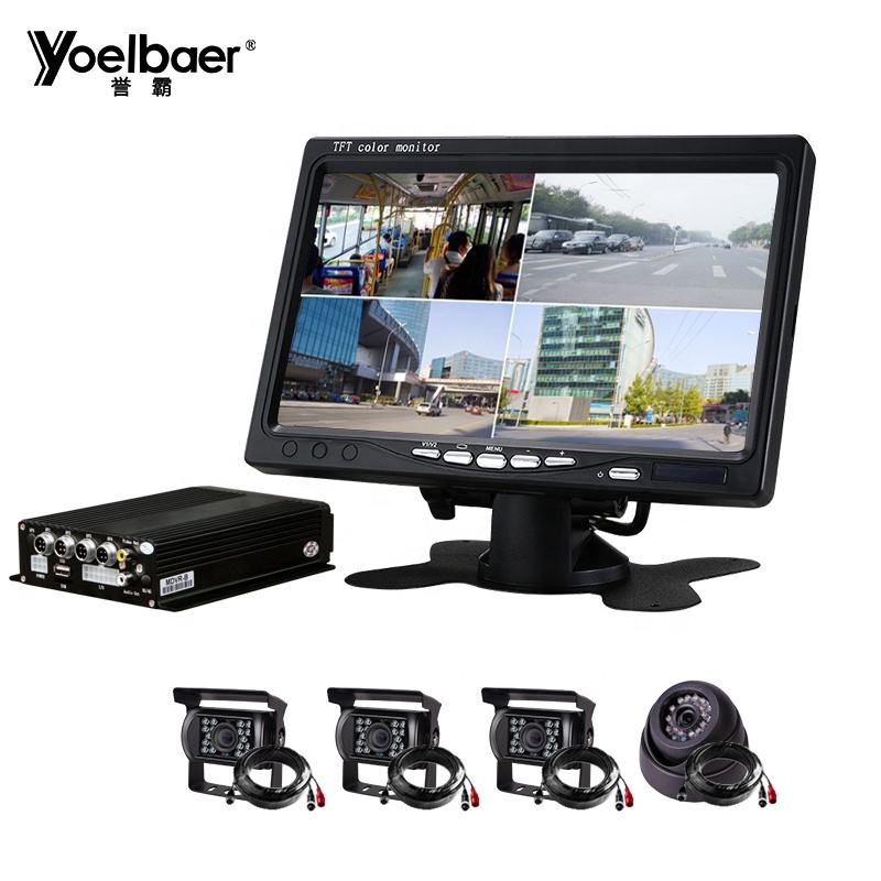 4CH H.264 AHD 720P SD Mobile DVR 128GB Kendaraan Mdvr CCTV Video Recorder Camera Kit Sistem
