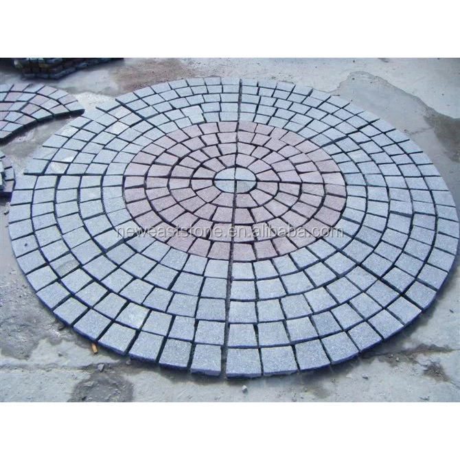 Stone Granite Paving G654 G603 Fan-shape Granite Paving Stone Circle With Net On The Back