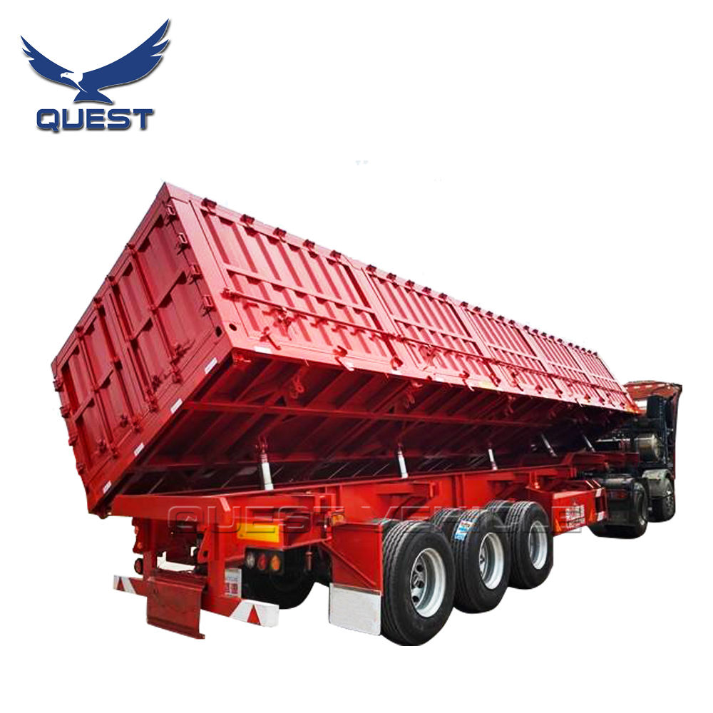 Low Price 3 axles 13 meters Side Dump tipper truck semi trailer with hydraulic for sale